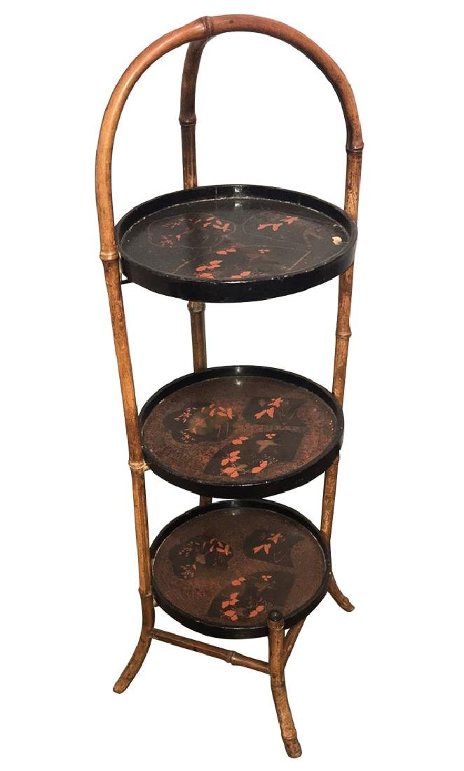 English Bamboo Three Tier Pastry Stand, With