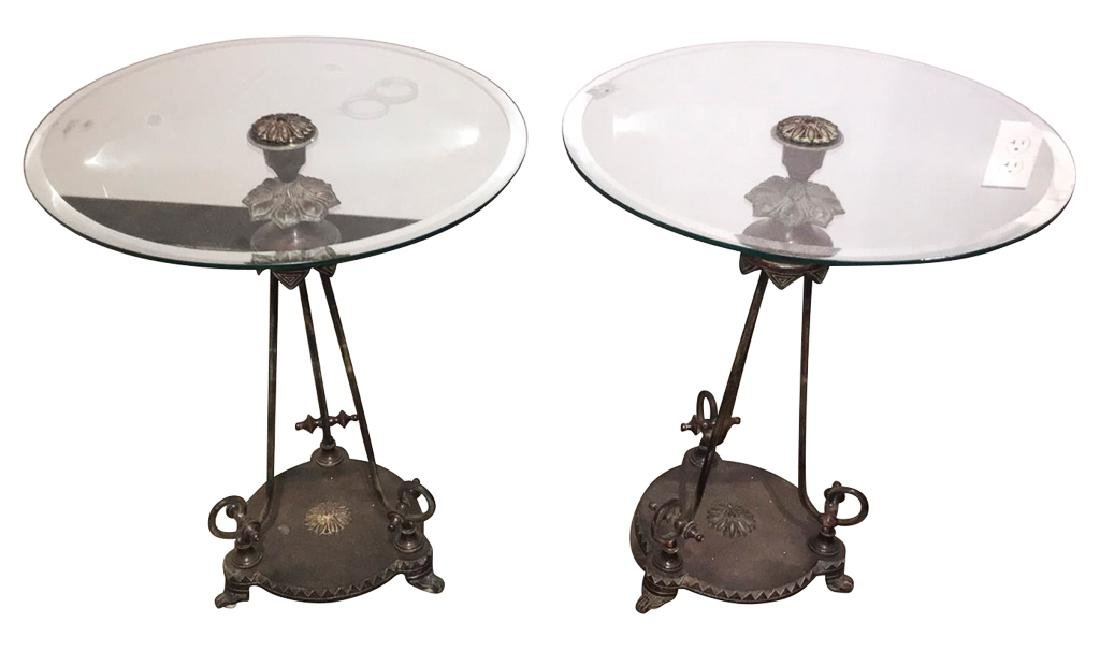 Nice Pair Of Patinated Metal Side Tables,