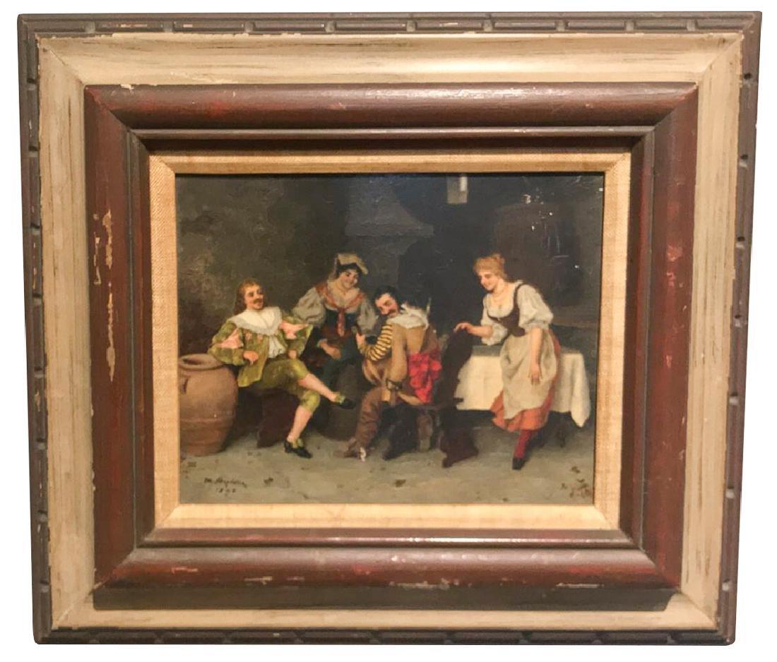 Whimsical Oil On Panel, Spanish Tavern Scene,
