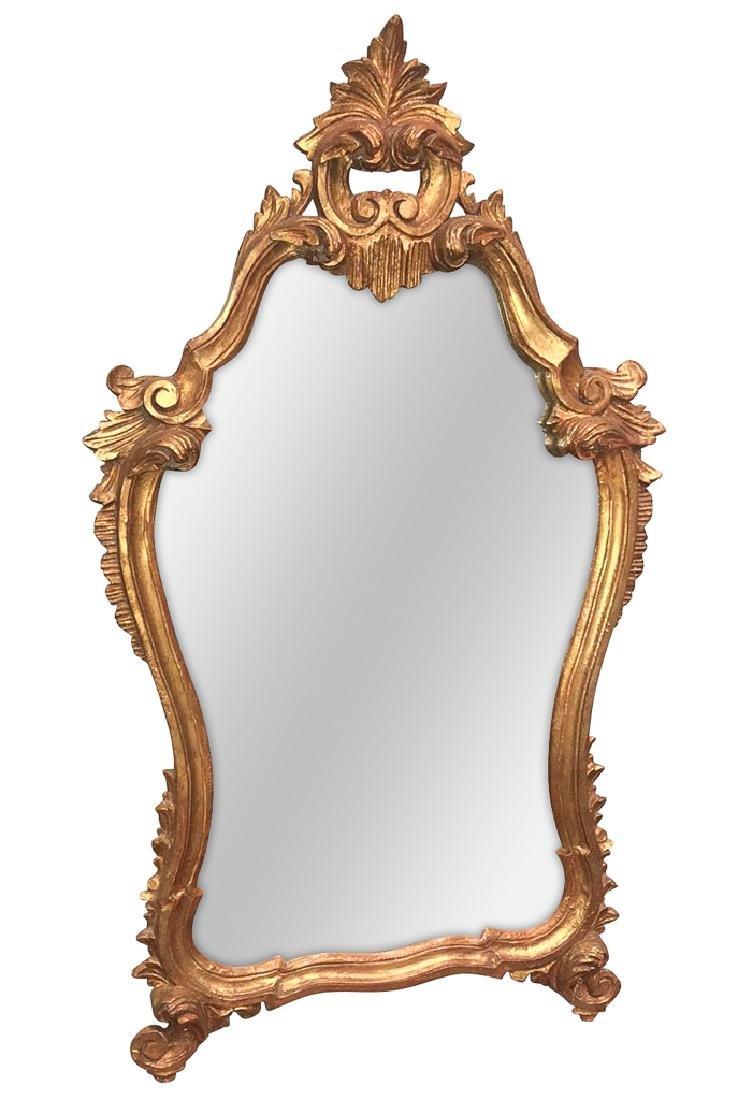 Italian Gilt-wood Mirror, Gold Finish, Circa