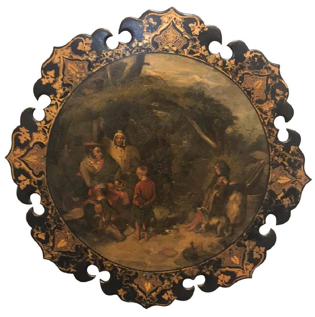 English Victorian Papier-Mache circular plaque