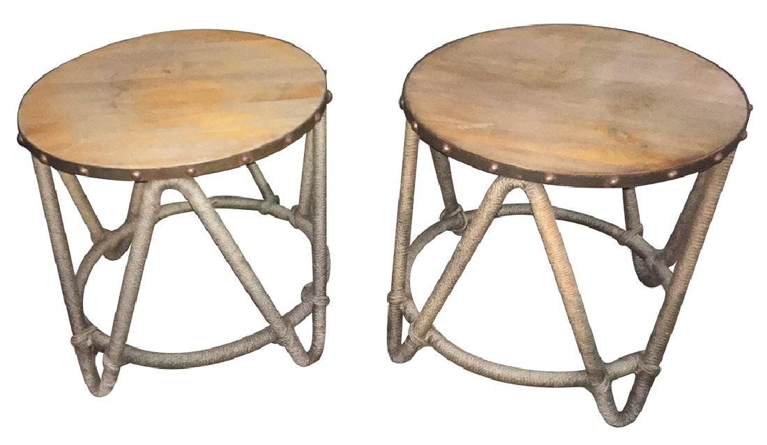 Pair Of Circular Rope Covered Tables With