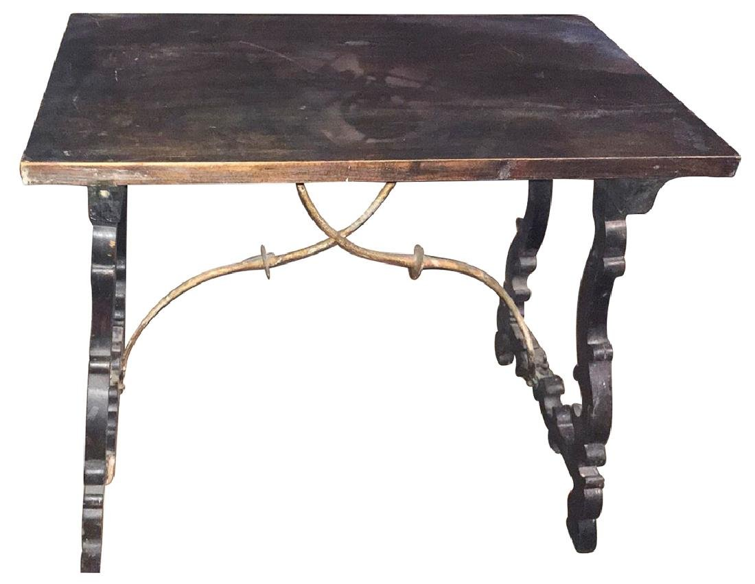 A Spanish Refractory Table, With Iron Cross