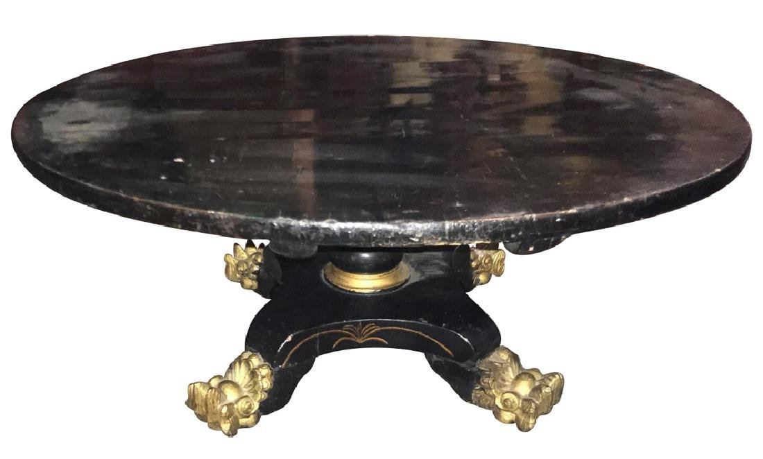 English Victorian Black Lacquered Cocktail