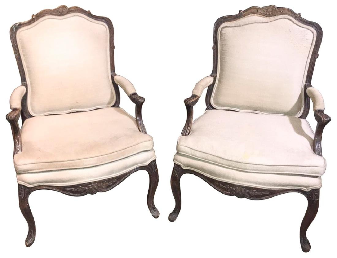 Pair Of French Style Louis Xv Walnut Fauteuils,
