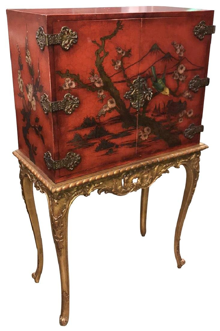 Oriental Red Lacquered And Japanned  Silver