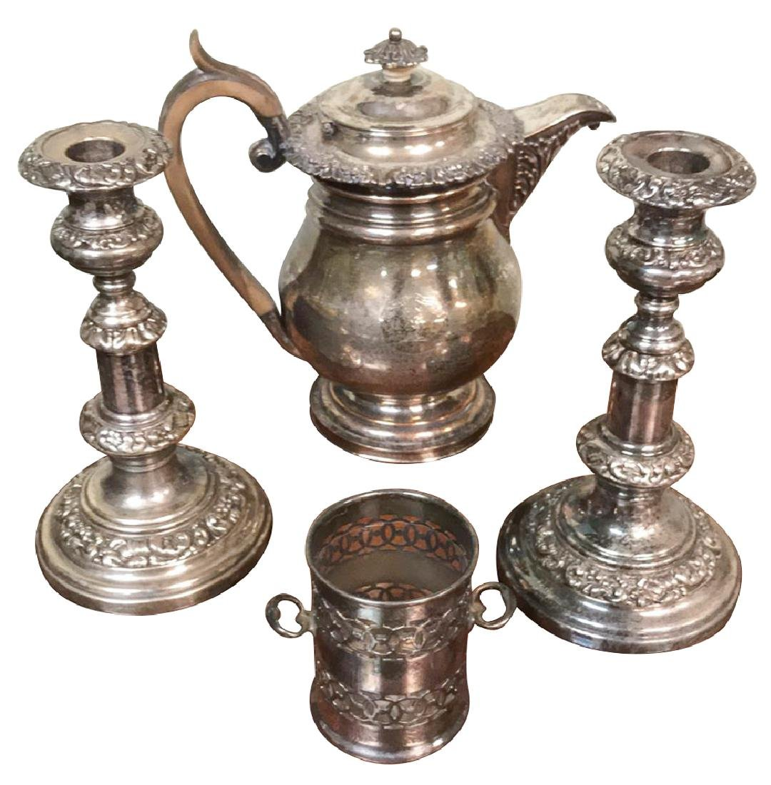 Four Piece English Sheffield Plated Silver, A