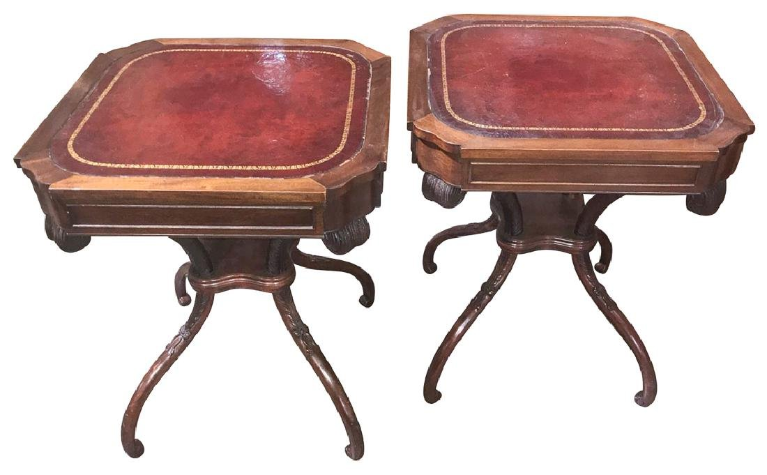 Pair Of English Regency Style Side Tables, Red
