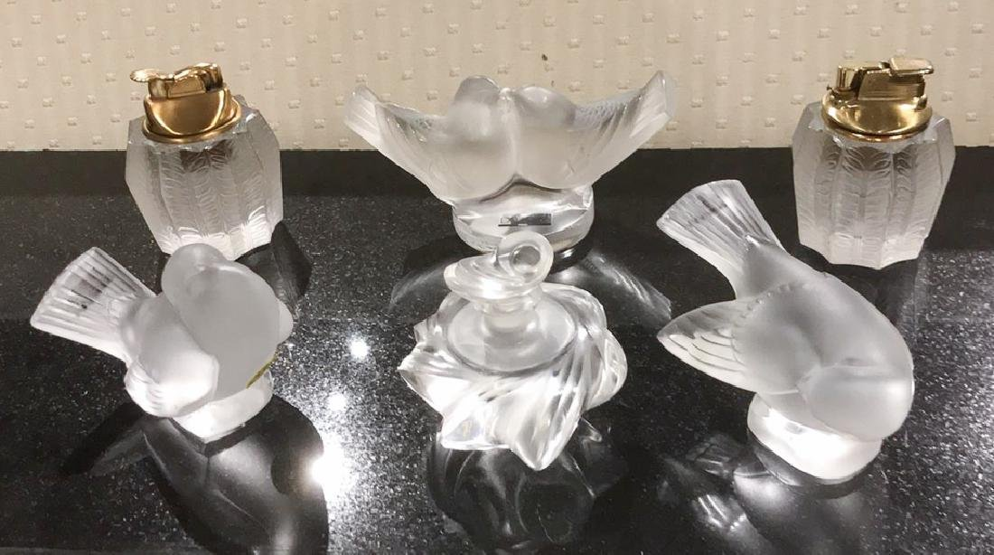 5 Pc. French Lalique Crystal Lot; Two Bird