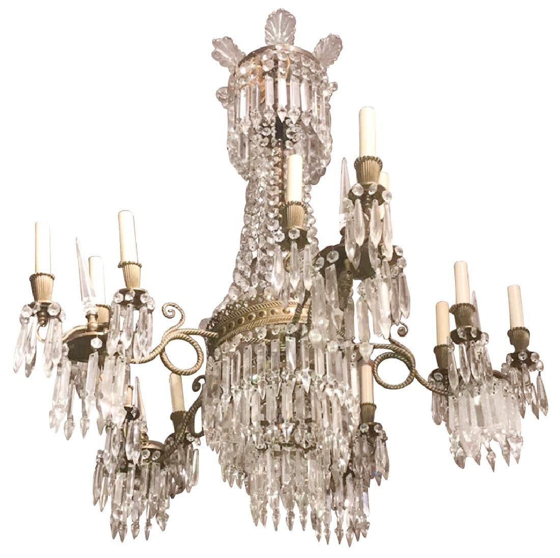 Parisian Brass And Crystal Chandelier, Each