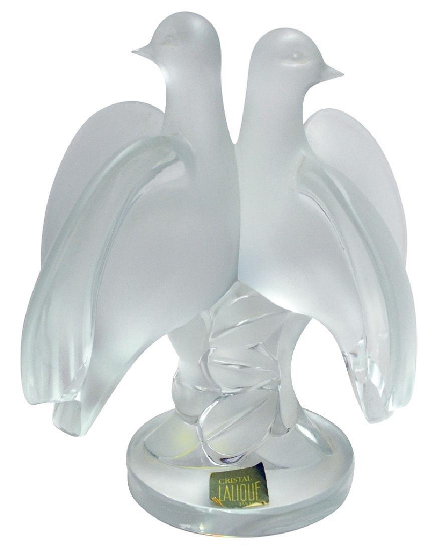 """Lalique """"double Doves"""" Figurine"""