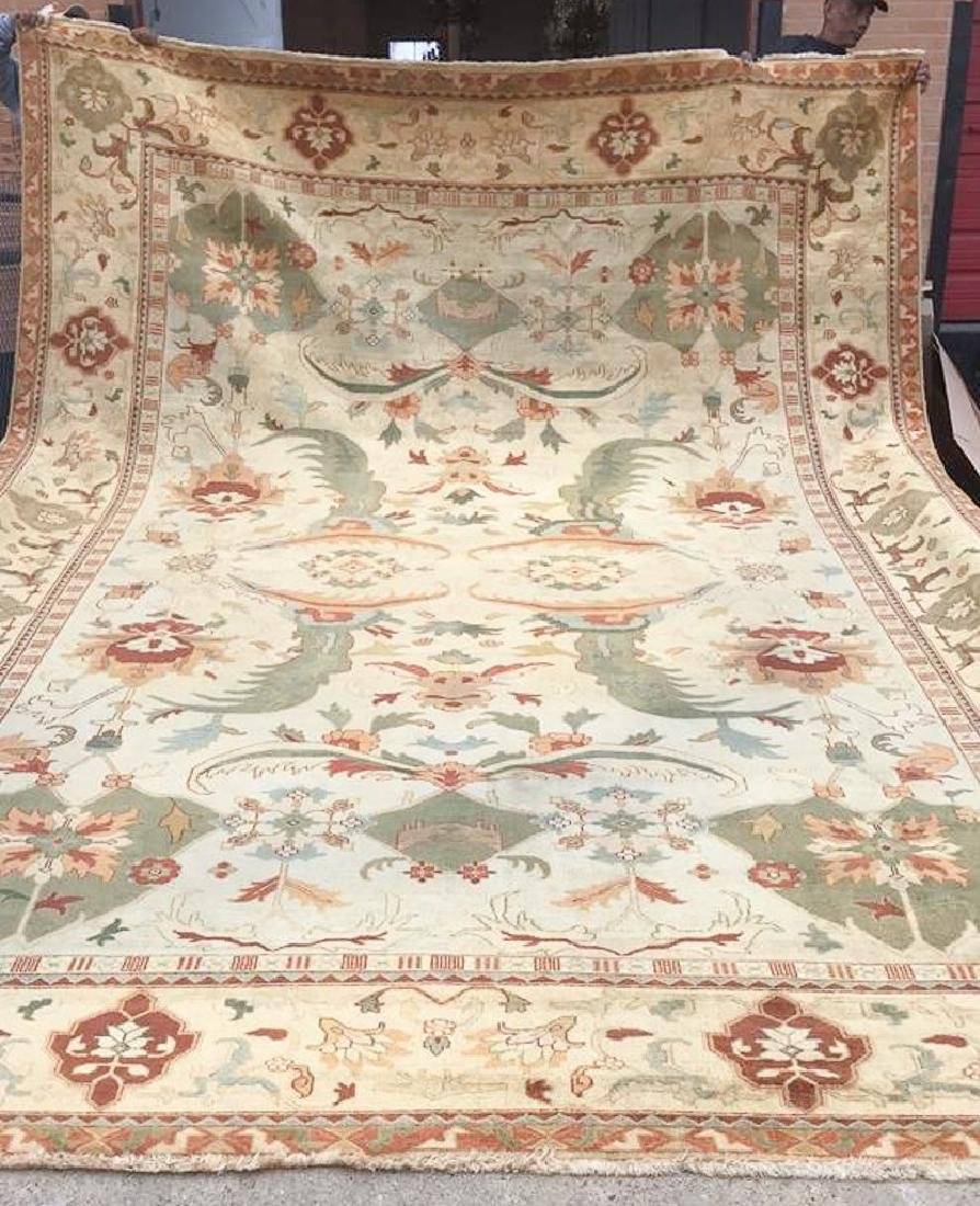 11 ft 7  X 16 ft 11 Handmade Faded Agra  Pattern