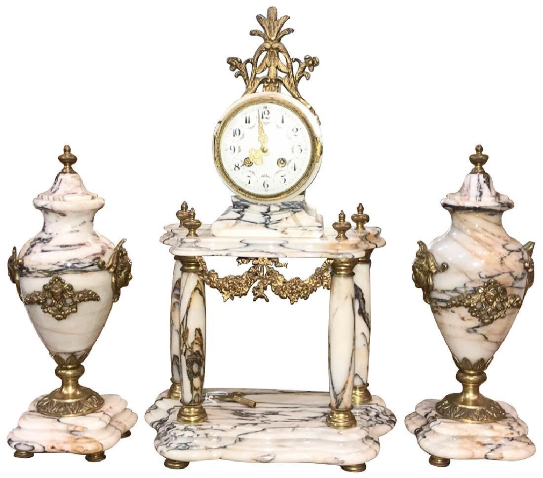 Three-piece French Garniture, White Veined
