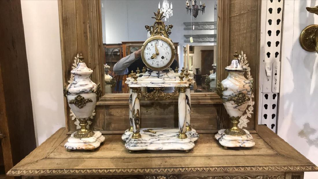 Three-piece French Garniture, White Veined - 2