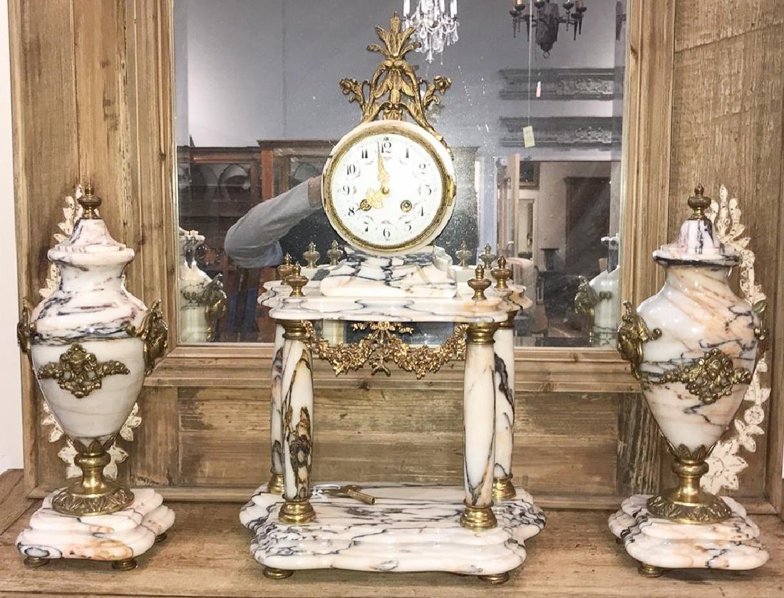 Three-piece French Garniture, White Veined - 5