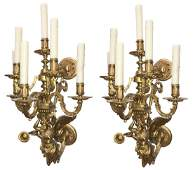 Superb Pair Of French Bronze Six Light Sconce,