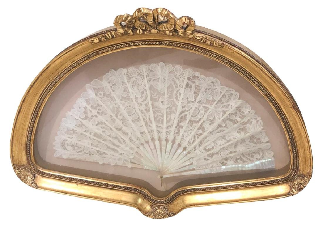 Antique Framed Lace And Mother Of Pearl Fan,
