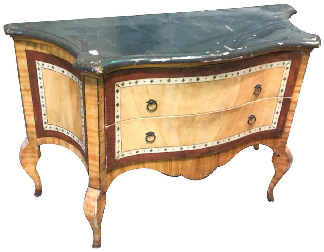 Italian Painted Commode, Serpentine Front With