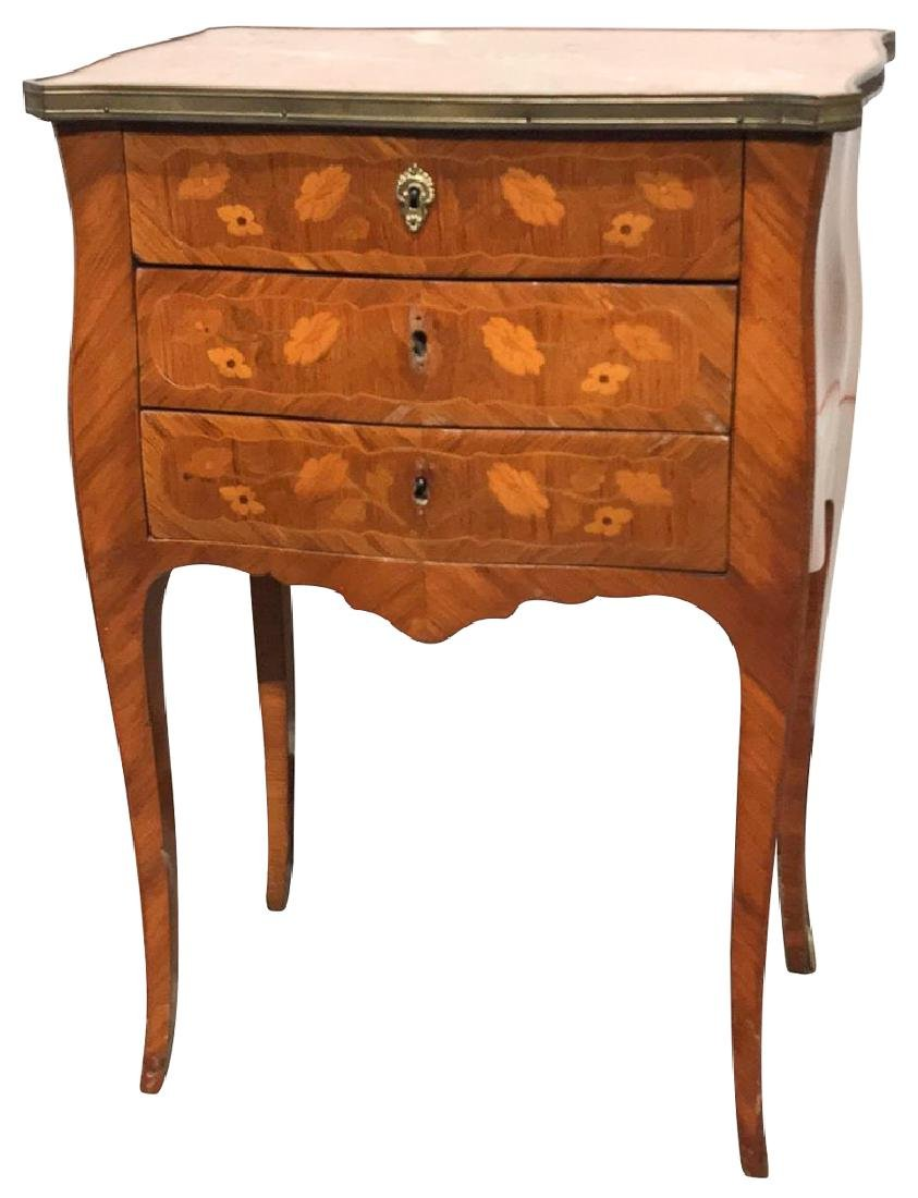 19th C. French Marquetry Inlaid Side Table Of
