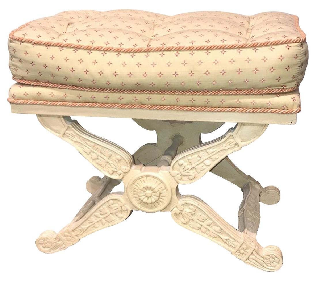 French Louis XIII Style X-Form Bench