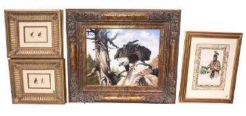 Original Oil On Board American Eagle, Highly