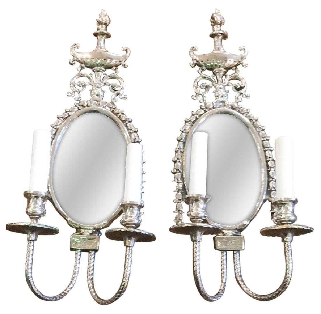 Pair Of French Two Light Classical Wall Sconces