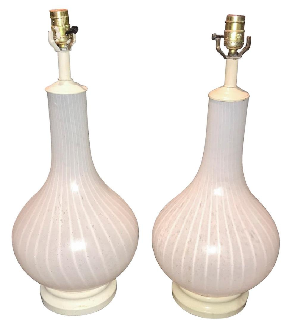 Exquisite Pair Of French Frosted Glass Lamps,