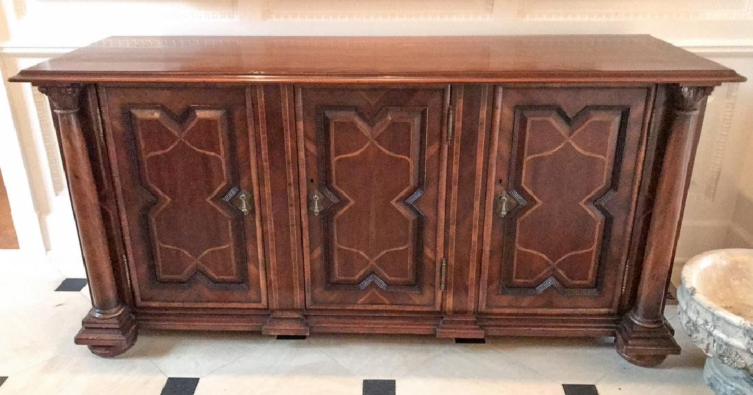 Fine Quality Italian Inlaid Walnut Server