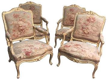 Exquisite Set Of 4 French Louis XV Giltwood