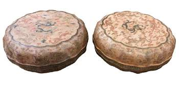 2 Oriental Lacquered Shaped Covered Boxes
