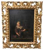 Early Italian Oil On Panel In Giltwood Frame