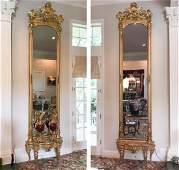 Monumental Pair Of Italian Giltwood Pier Mirrors