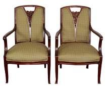 Pair Walnut Art Nouveau Armchairs