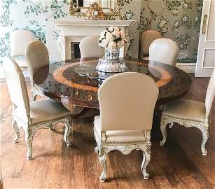 Set Of 10 Italian Painted Dining Chairs