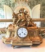 19th C French Gilt Bronze Clock With Children