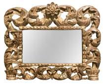18th C. Italian Carved Silver Gilt Wood Mirror