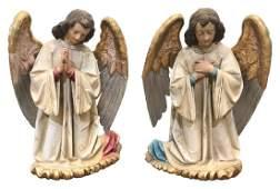 Pair Of Italian Carved Wood Angels