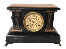Ebonized And Faux Marble Mantel Clock
