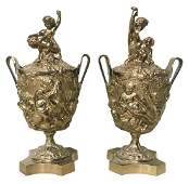 Pair Of 19th C French Gilt Bronze Lidded Urns
