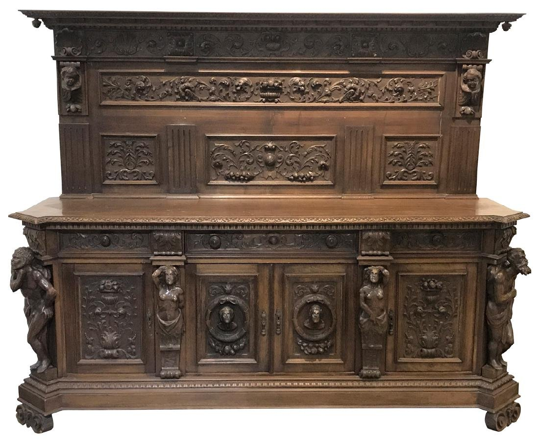 19th C. Italian Figural Carved Walnut Sideboard