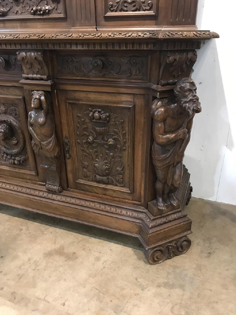 19th C. Italian Figural Carved Walnut Sideboard - 2