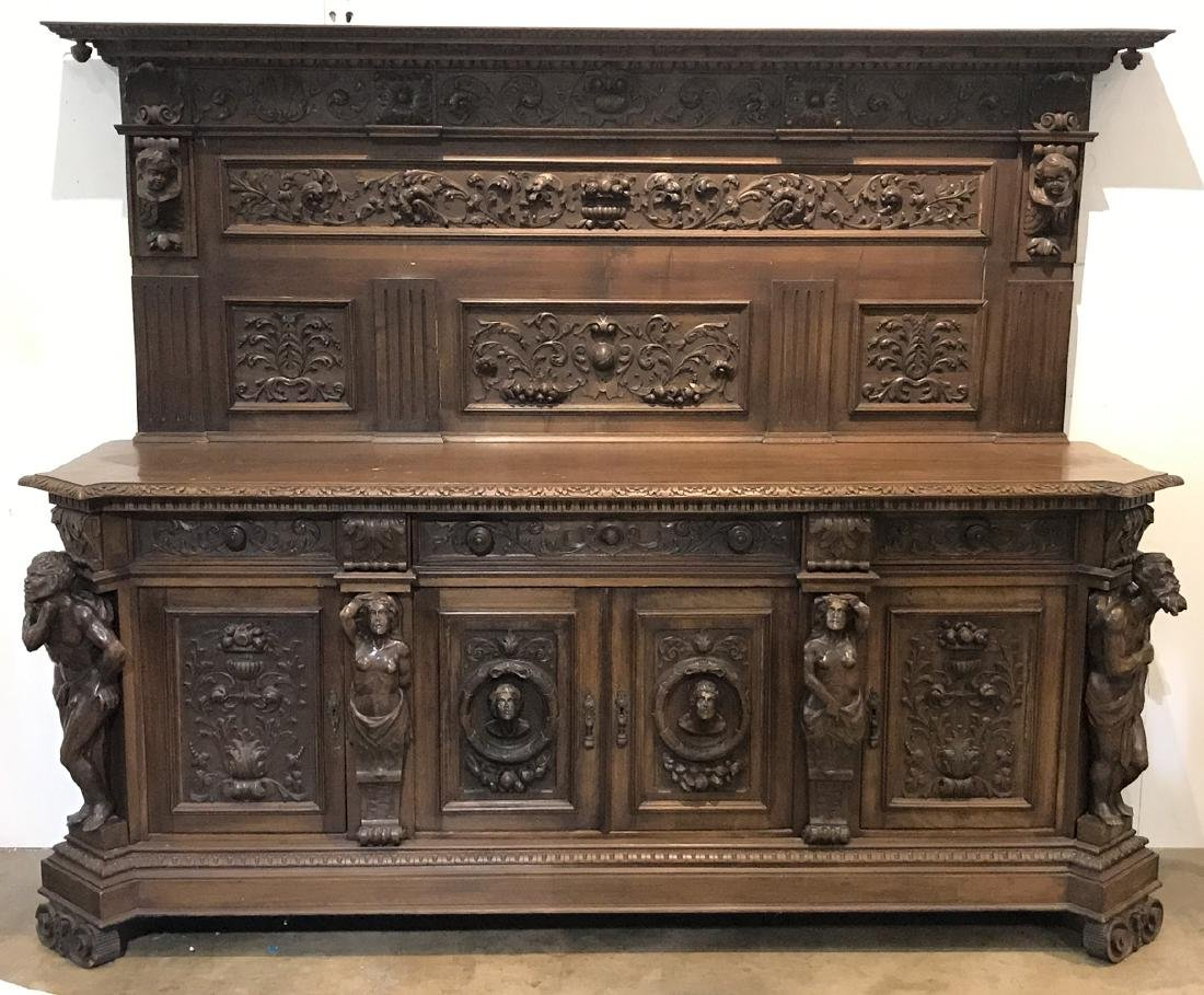 19th C. Italian Figural Carved Walnut Sideboard - 6
