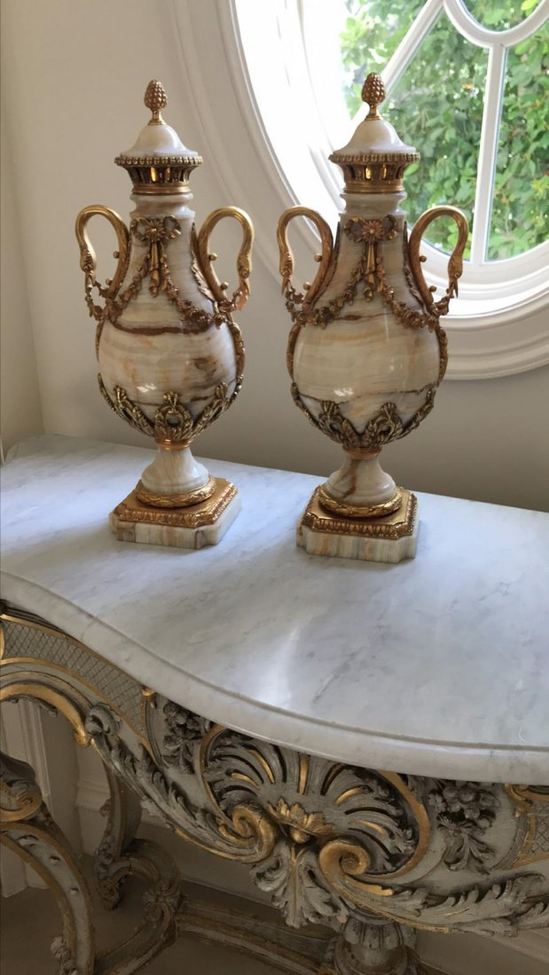 Fine Pair Of 19th C. French Onyx Cassollette - 4