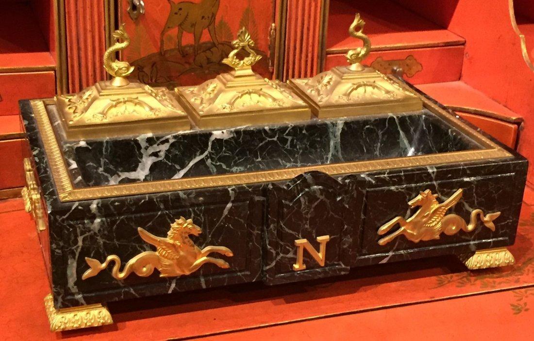 Napoleonic Empire Verde Marble Inkwell.