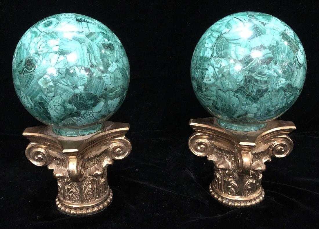 Bronze And Malachite Newel Posts.