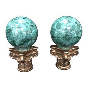 Bronze And Malachite Newel Posts. - 2