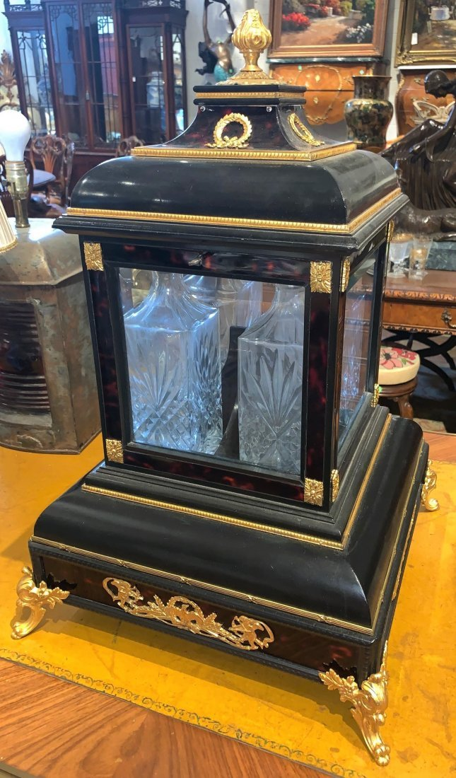 Antique English Ebonized Tantalus.