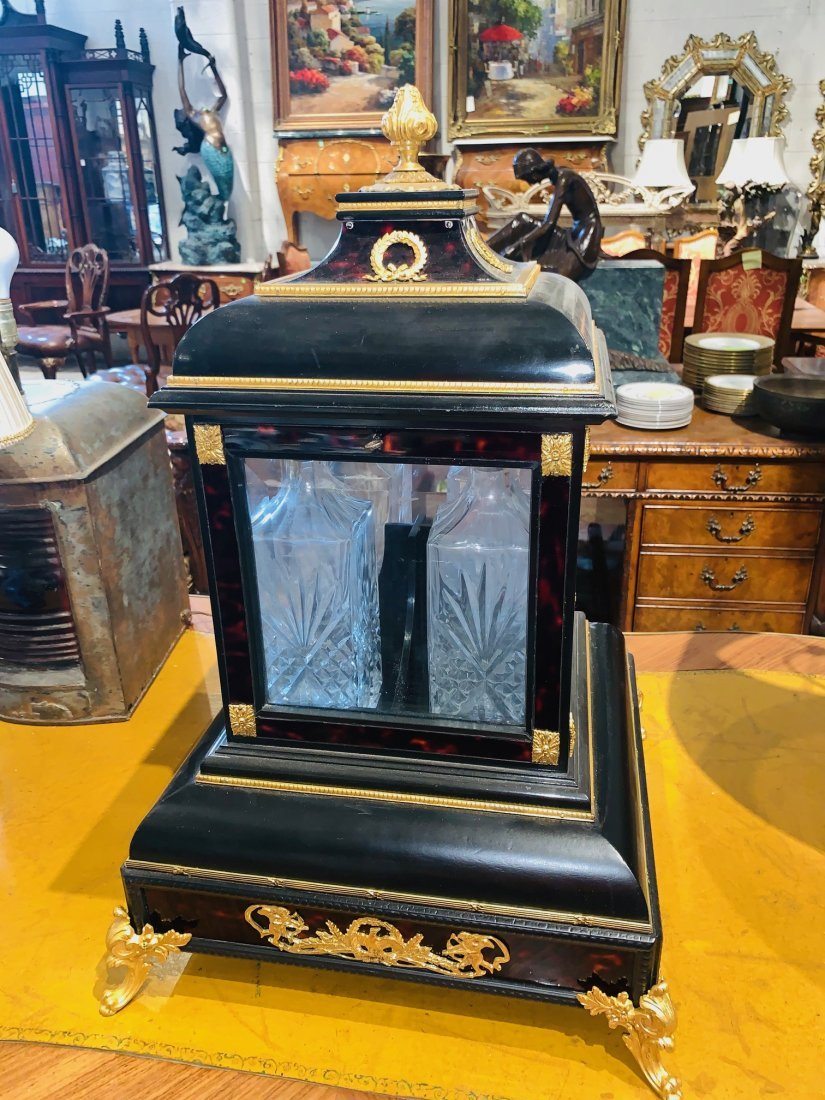 Antique English Ebonized Tantalus. - 2
