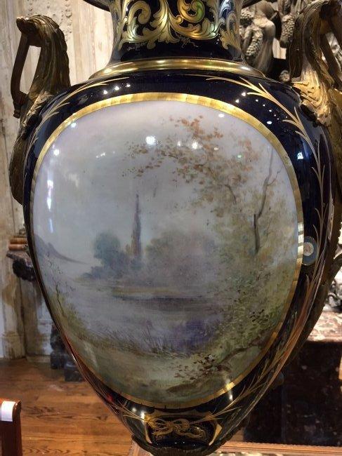 Antique French Sevres Cobalt Vase. - 10