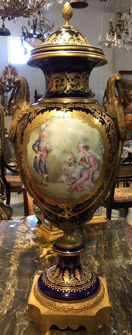 Antique French Sevres Cobalt Vase.